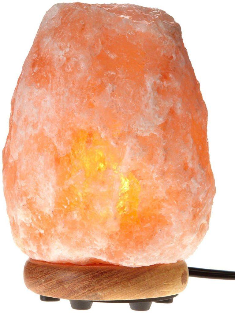 WBM Crystal Himalayan Salt Lamp Wood Base