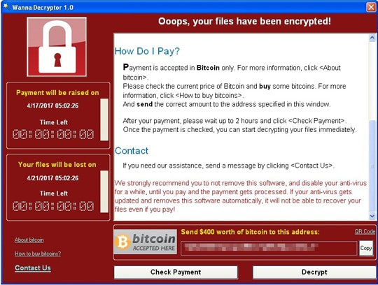 Wana Decryptor Ransomware Attack 2017