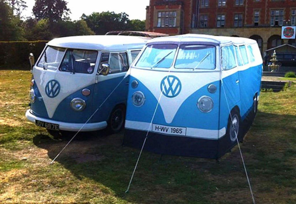 blue bus shaped tent for camping