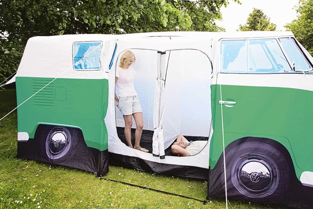 green bus shaped camper tent