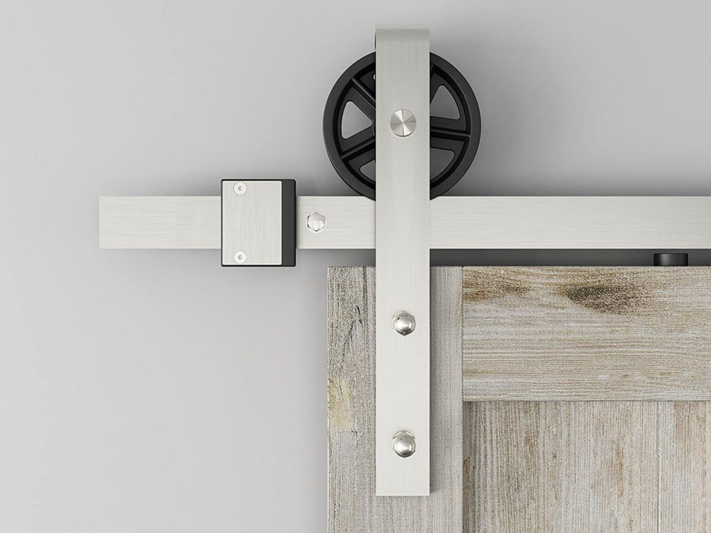 Brushed Nickel Industrial Spoke Wheel Steel Sliding Barn Door Hardware